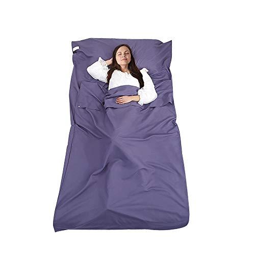 DUTISON Hüttenschlafsack Schlafsack Reiseschlafsack mit Tragetasche Ideal für Hostels, Berghütten und Jugendherbergen Camping Outdooraktivitäte usw (Lavendel)