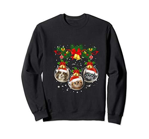 Santa Bengal Cat Christmas Tree Light Funny Xmas Cat Sweatshirt