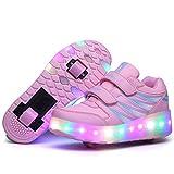 HOAPL Zapatos de Carga USB Zapatos de Patinaje sobre Ruedas para Niños Y Niñas Zapatos con Ruedas con Luz LED para Niños Zapatillas con Ruedas Zapatos para Niños Mejores Regalos,Pink 2,34