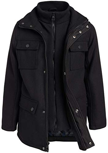 Urban Republic Boys' Wool Military Style Jacket with Zipper Closure, Black, Size 14/16