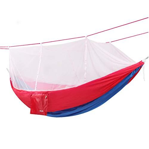 8haowenju Doppel-Camping-Hängematte - Leichte tragbare Nylon-Hängematte, Bester Fallschirm-Rucksack für Hängematten, Camping, Reisen, Strand, Hof (mit Moskitonetz) (Color : Red)