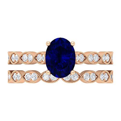 Rosec Jewels 14 quilates oro rosa ovalada Round Brilliant Blue Moissanite Blue Sapphire