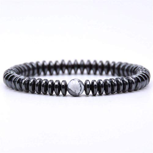 Armband Armreif,Schmuck Geschenk,Fashion Jewelry 6Mm Hematite Round Tablets Bracelet Noble Elegant Round Charm Bracelets for Women&Men Gifts