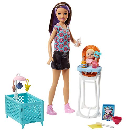 Barbie Babysitting Playset with Skipper Doll, Color-Change Baby Doll, High Chair, Crib and Themed Accessories