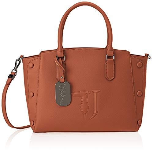 Trussardi Jeans Melissa Tote Medium Bag Covered Studs, Borsa Donna, Marrone (Leather On Tone), 21x24x13.5 cm (W x H x L)