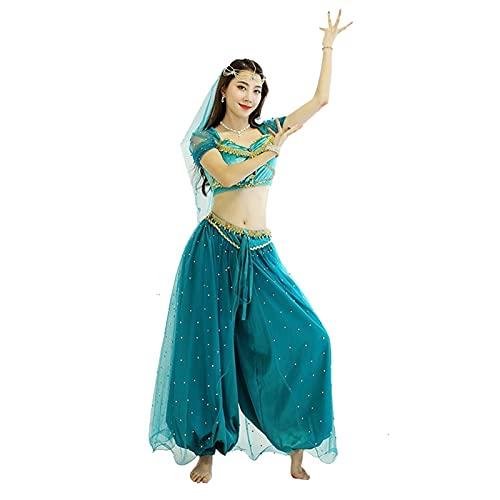 Fhxr Cosplay Jasmine Princess,Aladdin Lámpara Mágica Cosplay Disfraz Europeo Y Americano Disfraz De Halloween Adulto Mujer Sense Sense Jasmine Princess Stage Traje (Color : Green, Size : L)