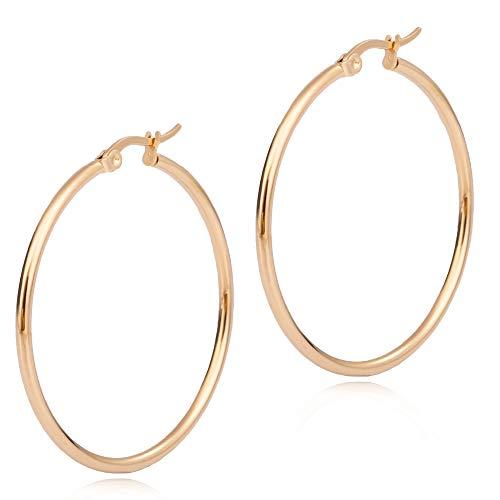 Adelina Style(アデリナスタイル) フープピアス ゴールド 外径45mm 幅2mm 1ペア リングピアス レディース メンズ サージカル ステンレス ピアス アレルギーフリー 両耳 ポーチ シルバークロス付