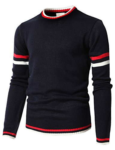 H2H Mens Casual Crew Neck Flexible Knit Pullover Sweater Cotton Knitwear Navy US L/Asia XL (KMOSWL0194)