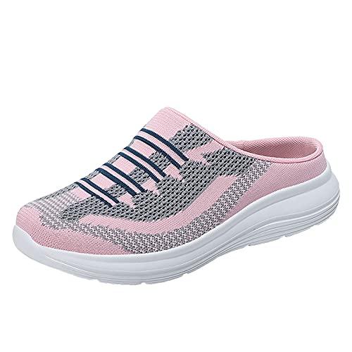 Togethor Zapatillas deportivas para mujer con un paso para caminar, zapatillas de correr con malla transpirable, rosa, 5.5 UK