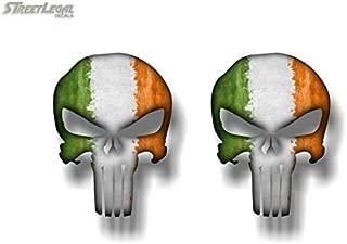 2 Ireland Flag Wicked Skull 5'' Vinyl Decals Gun Ammo Skulls Military Stickers Luck Irish Skulls Sticker ((2) 4