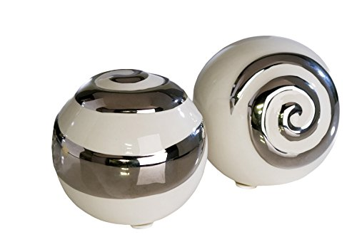 Moderne Deko Kugeln aus Keramik 2 Stück weiß/silber Durchmesser 6 cm