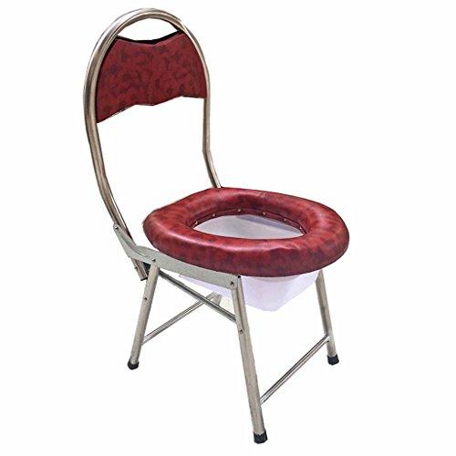 Guo Shop- Le siège mou de toilettes mobiles pliantes d'acier inoxydable pour les femmes enceintes âgées patients 33 * 37 * 76cm Salle de bain Tabourets