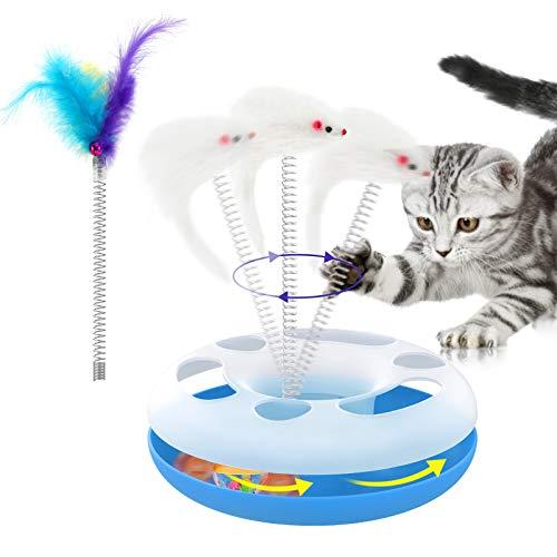 Lewondr Kugelbahn Katzenspielzeug mit Plüschmaus & Feder & Ball mit Glöckchen, Interaktives Spielzeug zur Training & Beschäftigung für Haustier Katzen - Blau