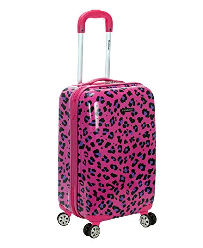 Rockland Safari Hardside Spinner Wheel Luggage, Magenta Leopard, Carry-On 20-Inch