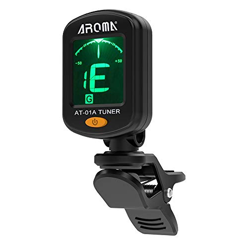 AROMA AT-01A Rotatable Clip-on Tuner LCD Display for Chromatic Guitar Bass...
