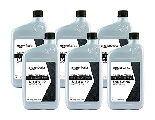 AmazonBasics Full Synthetic Motor Oil - Euro Formula 5W-40 - 1 Quart - 6 Pack