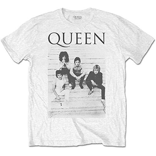 Men's Official Queen Band Sitting on Steps T-shirt, S to XXL