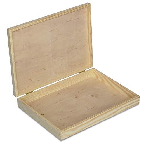 Creative Deco A4 Caja Madera para Decorar con Tapa | 34 x 25,3 x 5,3 cm | Documentos Decoración Papeles Cartas Almacenaje Decoupage Herramientas Objetos de Valor Juguetes