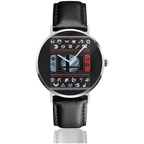 Unisexe Business Casual Super Smash Bros Ultimate Christmas Switch Knit Pattern Montres Quartz Leather Watch
