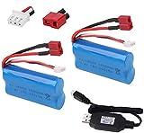 Sirecal 2 Piezas 2S 7.4V 1500mAh Li-Ion Batería con USB Cargador para WLtoys 4WD RC Cars 12403 12401 12402 12404 12428 Repuesto de Repuesto