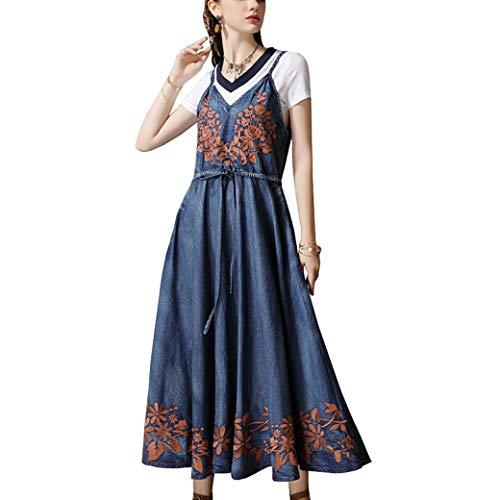 E-girl Damen Bestickt Swing Jeanskleid Ohne Arm Kleid,DA82162,Blau,L