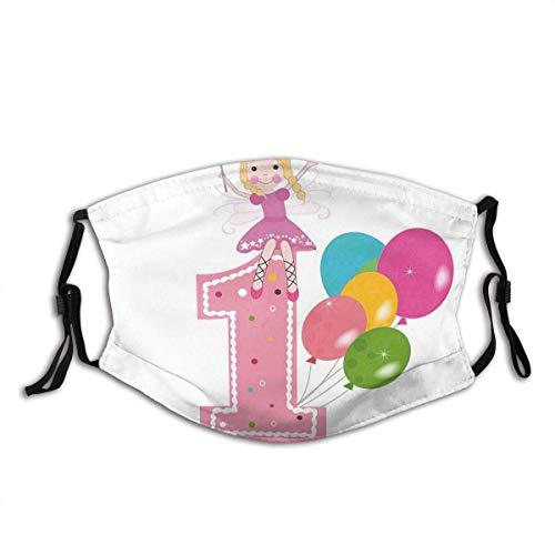 Mundschutz 1. Geburtstag Prinzessin Fee Party Thema mit besten Wünschen Rosa Zauberstab und Luftballons dekorativ Blass rosa und lila waschbar und wiederverwendbar Gesicht Schal