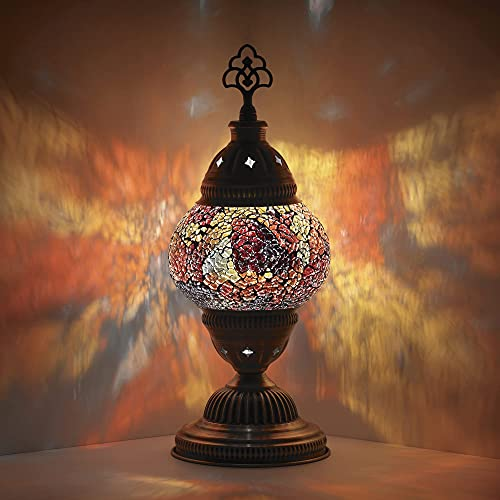 DEMMEX Handmade Colorful Mosaic Glass Table Desk Bedside Lamp Lampshade with Antique Brass Base,...