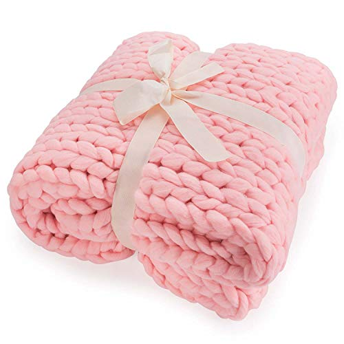Feluna Grob gestrickte Kuscheldecke - Grobstrick Wolldecke Strickdecke Tagesdecke Überwurf (180x120cm; rosa-pink)