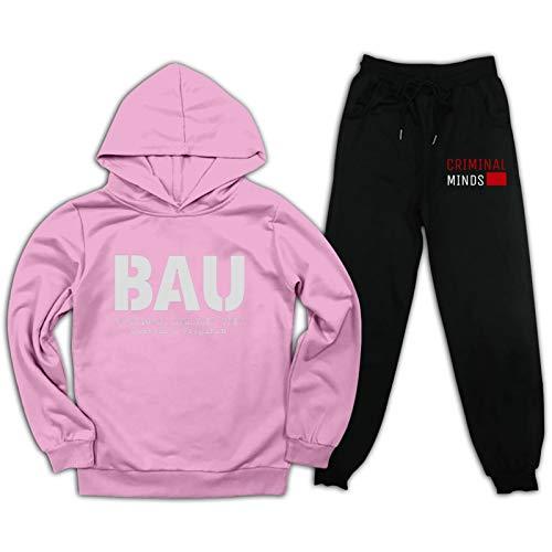 Cr-IMI-nal Mi-nds BAU Kinder Sweatshirt + Sweatpants Trainingsanzug Dünne Samt Anzüge FBI Outfit Jungen Mädchen Pullover 2 Pcs Pullover Hoodie Gr. L, rosa / schwarz
