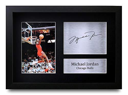 HWC Trading Michael Jordan A4 Gerahmte Signiert Gedruckt Autogramme Bild Druck-Fotoanzeige Geschenk Für Chicago Bulls Basketball-Fans