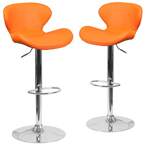 Flash Furniture 2 Pk. Contemporary Orange Vinyl Adjustable Height Barstool with Curved Back and Chrome Base