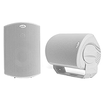 Polk Audio Atrium 6 Outdoor All-Weather Speakers with Bass Reflex Enclosure  Pair White    Broad Sound Coverage   Speed-Lock Mounting System