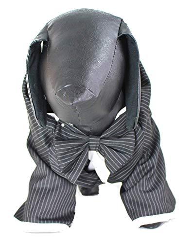 Glamour Girlz grote hond rassen zwart & wit strik Tie Tuxedo pak jurk bruiloft formeel up outfit kostuum, 2XL (18), Zwart