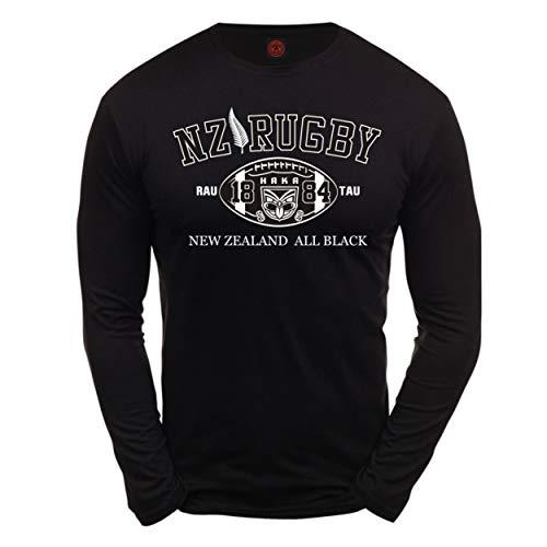 Dirty Ray Rugby New Zealand All Black Herren T-Shirt Lange Ärmel KLS2 (XXL)