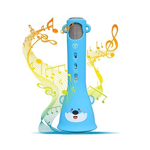 QCHEA Compatible con Dispositivos iOS y Android micrófono de Karaoke inalámbrico for los niños, del hogar del Canto de la máquina del Karaoke del micrófono inalámbrico de Audio Amplificador