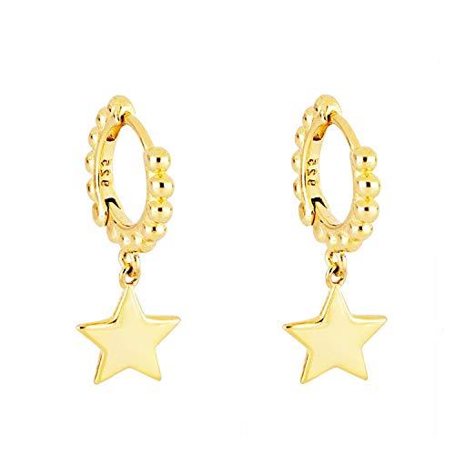 Iyé Biyé Jewels - Pendientes Aros Bolas 11 mm Estrella 8 Mm Mujer Niña Plata de Ley 925 Baño Oro Amarillo Cierre de Clip