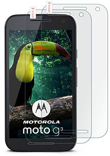 moex HD Panzerglasfolie kompatibel mit Motorola Moto G3 | Panzerglas Kratzfest + Fast unsichtbar 9H Glas Schutzfolie, Kristall Klar 2X Stück