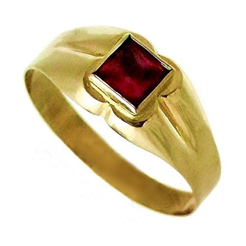 18 carati in oro sigillo bambino di pietra quadrata Red glitter rose [AA9806]