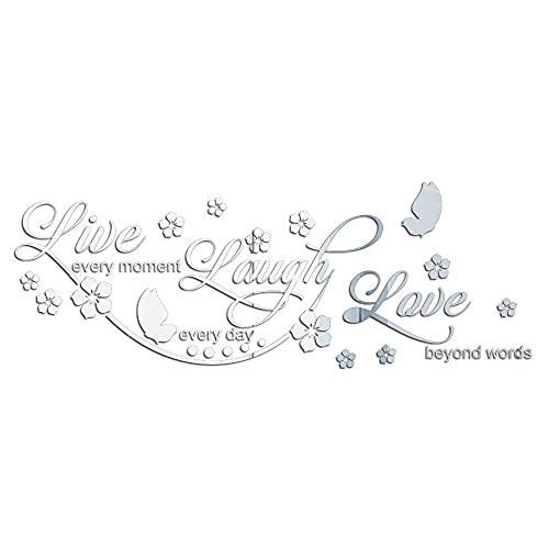 3D Live Love Laugh Flores Espejo Pared Pegatinas Decoración de Sofá Fondo Adhesivo de Pared Adhesivo de Pared Decals Decals para Salón Dormitorio Cultura de Sala de Estar Dormitorio, Plata 80 x 29 cm