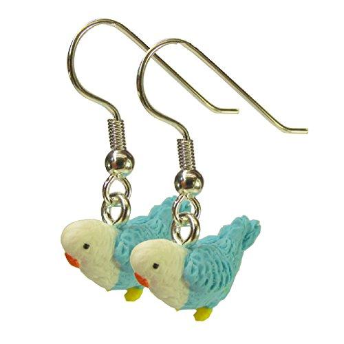 Handmade Miniature Blue White Pet Budgie Budgerigar Bird Inspired Earrings - Gift Boxed