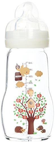 Mam - Botellas de vidrio, 260 ml, 0-6 meses Tipo de flujo 2, Color: Blanco