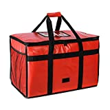 OGEFOTED Insulated Pizza Food Delivery Bag Large Thermal Food Warmer Transport Carrier Bags with Side Pockets for Hot or Cold Food - 23'x13'x15', Red