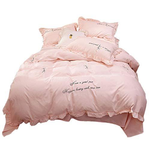 CXLSummer bedding bed skirt four-piece set small fresh Korean bed linen quilt girl heart embroidery lace duvet cover home bedding four-piece set