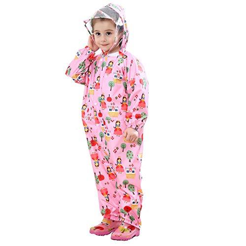 FILOWA Kids Raincoat Hooded Puddle Suits Girls Rainsuit Pink Floral Rainwear Lightweight Overall Waterproof Cartoon Colorful Pattern Portable Breathable PVC Transparent Hat Brim Zipper 1-3 Years