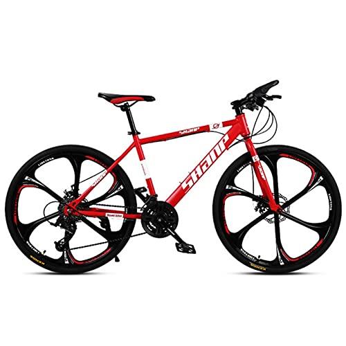 M-YN 26 Pulgadas De Ruedas Montaña Bike Daul Disc Frenos para Hombre Bicicleta Suspensión Frente MTB(Size:21-Speed,Color:Rojo)