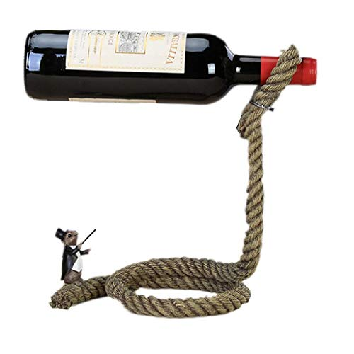KANJJ-YU Vino del estante del sostenedor del vino Lasso cuerda vino titular de la botella flotante de la ilusión del estante del soporte Arte regalo mágico soporte for botella de vino de la cuerda flo