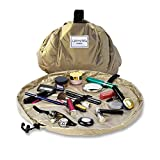 Lay-n-Go Cosmo Drawstring Makeup Organizer Cosmetic & Toiletry Bag for Travel, Gifts, and Daily Use with a Durable Patented Design, 20 inch, Metallic Gold