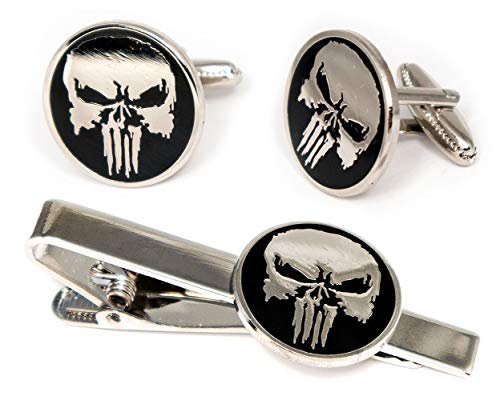 SharedImagination The Punisher Tie Clip, Marvel Defenders Cufflinks, Dare Devil Jewelry, The Avengers Ironman Tie Tack Geek Gifts, Skull Logo Daredevil Cuff Links Wedding Party Groomsmen Gift