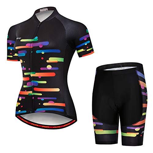 Maillot Ciclismo Mujer + Pantalones Cortos Acolchado Manga Corta Camisas Ciclismo Ropa Bicicleta Ropa Bicicleta, Moderno/ajustado, Niñas, color A10., tamaño S for Chest30-32.3