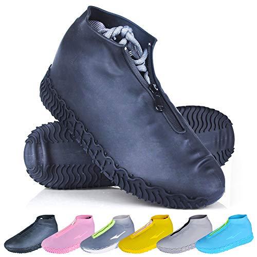 ydfagak Waterproof Shoe Covers, Reusable Foldable Not-Slip Rain Shoe Covers with Zipper,Shoe Protectors Overshoes Rain Galoshes for Kids Men and Women (L (Women 8-12, Men 7-11), Black)